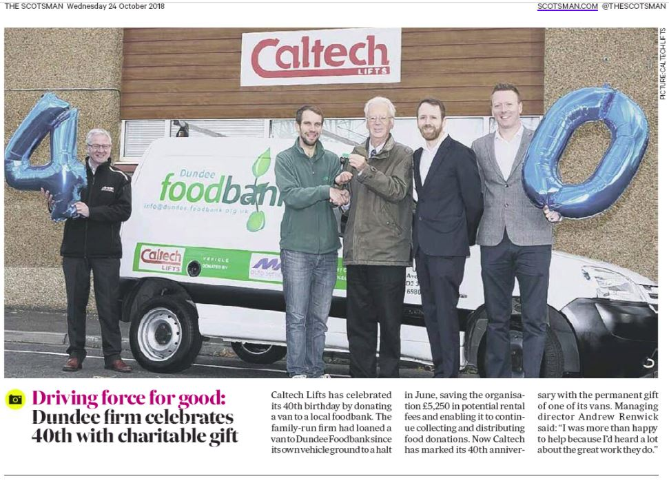 40th Year Anniversay Celebrating With Gift to Foodbank